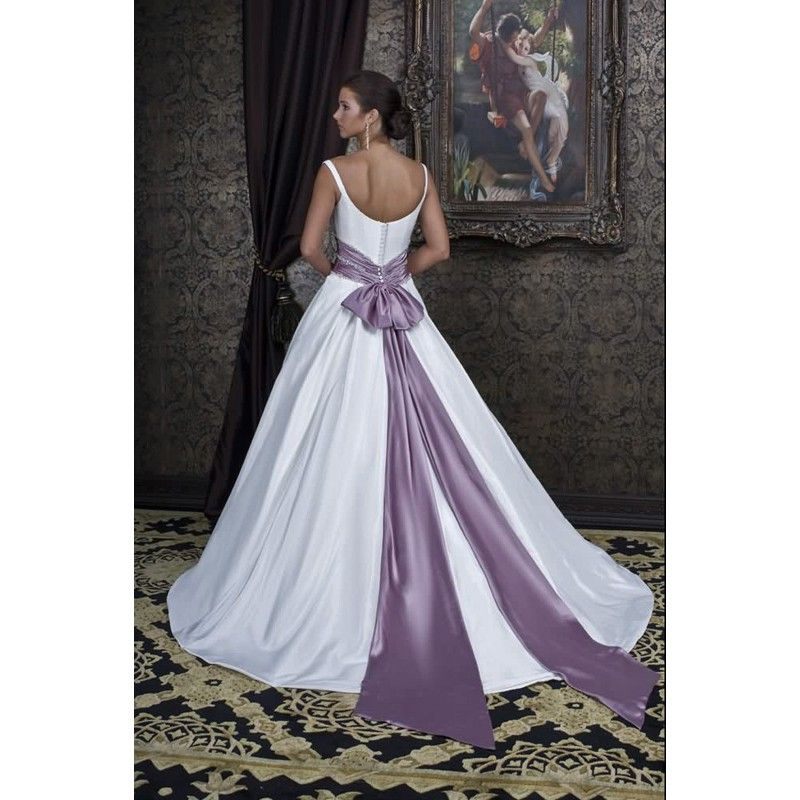 Whole A Line Wedding Dresses 2017 Fashion Satin Off Shoulder V Neck Bridal Dress Crystal Beaded Bow Sash Purple And White C