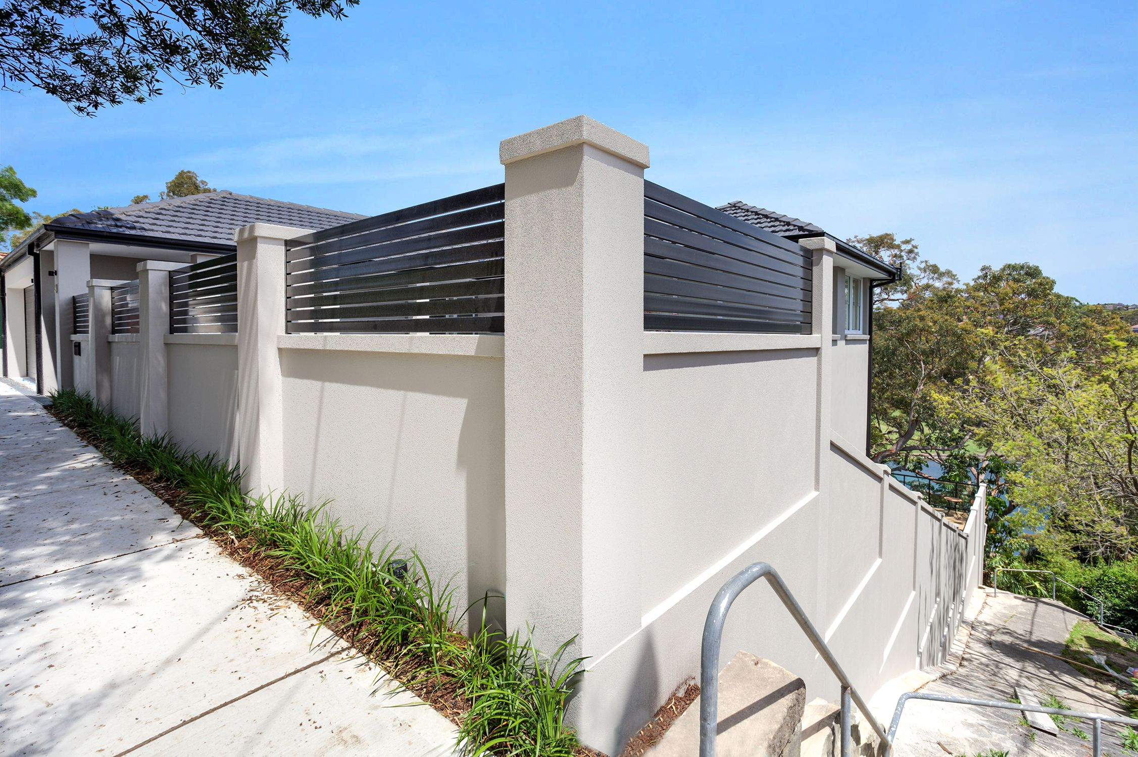 Corner Blocks Dont Have To Be A Hassle With The Ease Of Installing A Diy Modular Wall System Fence Gate Design Fence Design Concrete Block Walls