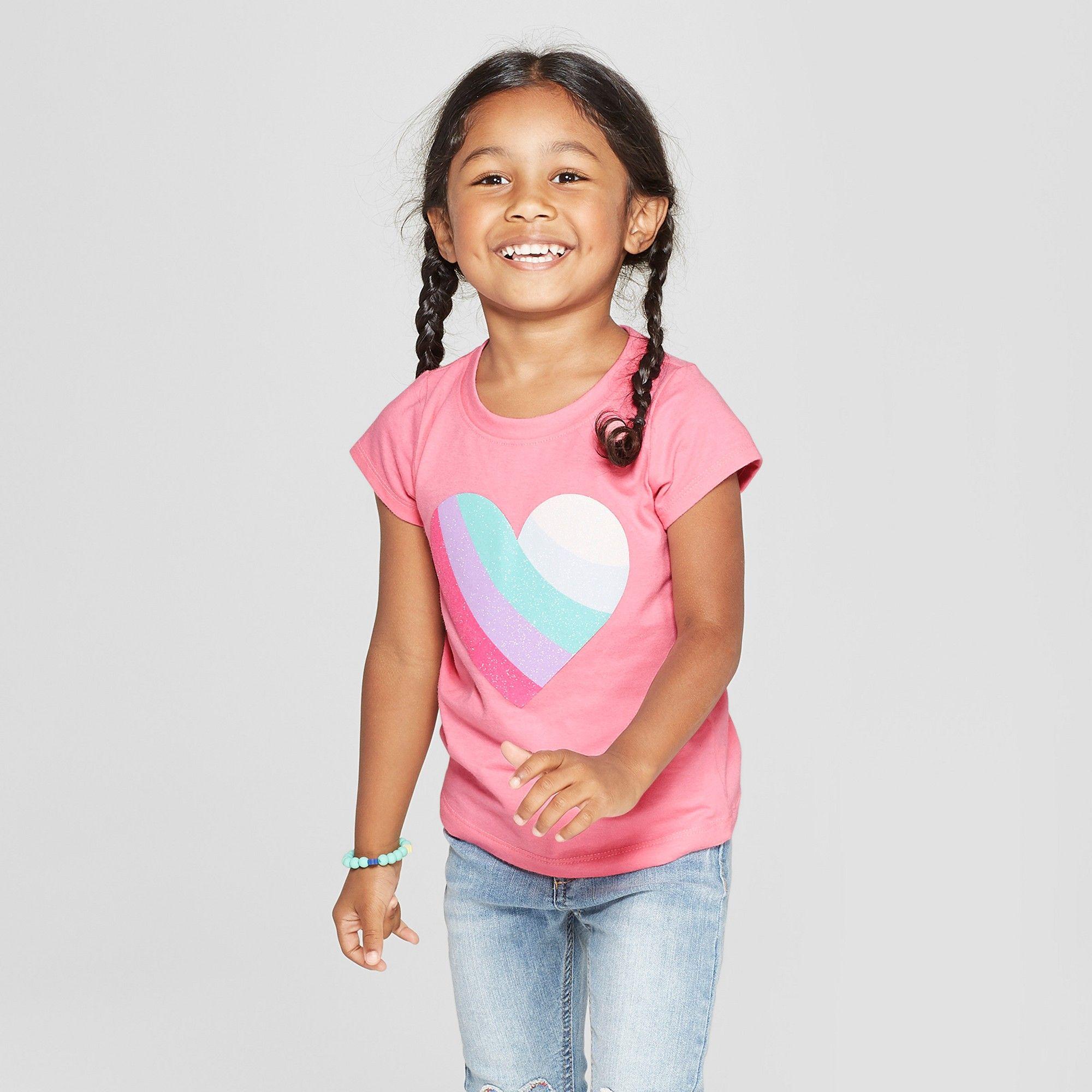 fed3e6117fe Toddler Girls  Short Sleeve Heart T-Shirt - Cat   Jack Pink Carnation 3T