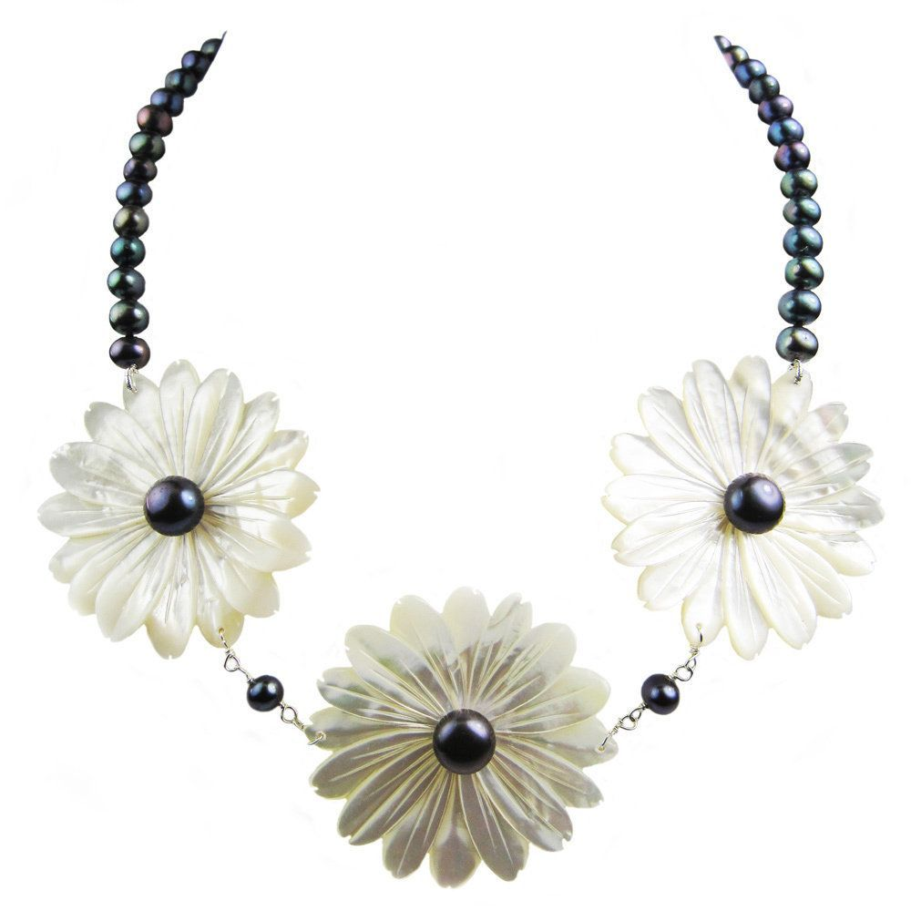 Pearl Lustre White Sterling Silver Freshwater and Mother of Pearl Necklace (6-10MM Pearls