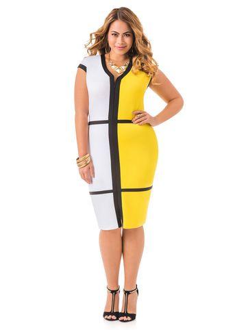 1d25b4a4d6f Zip Front Colorblock Ponte Dress