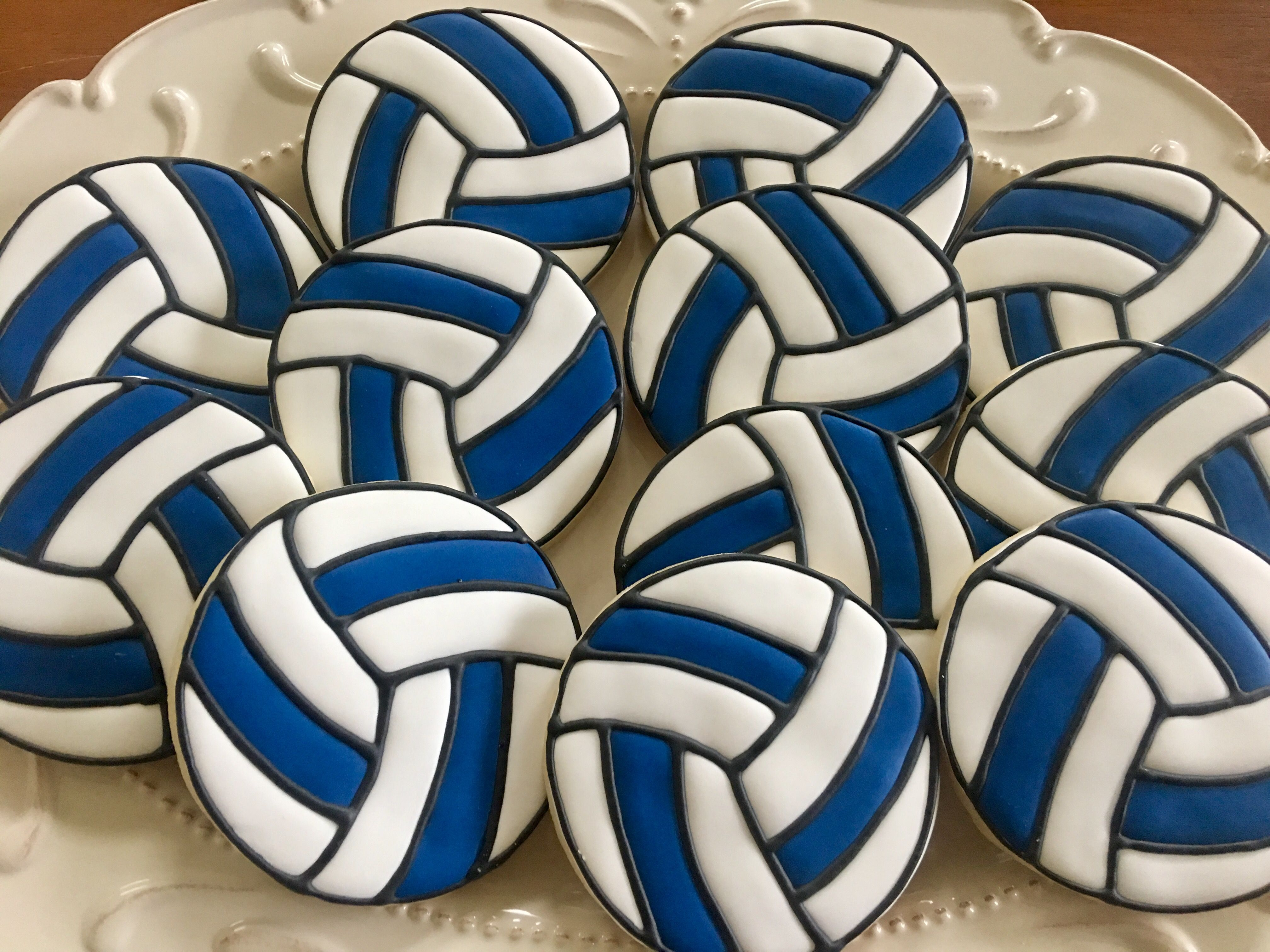 Volleyball Cookies Blue White Volleyball Cookies Sugar Cookies Decorated Volleyball Cakes