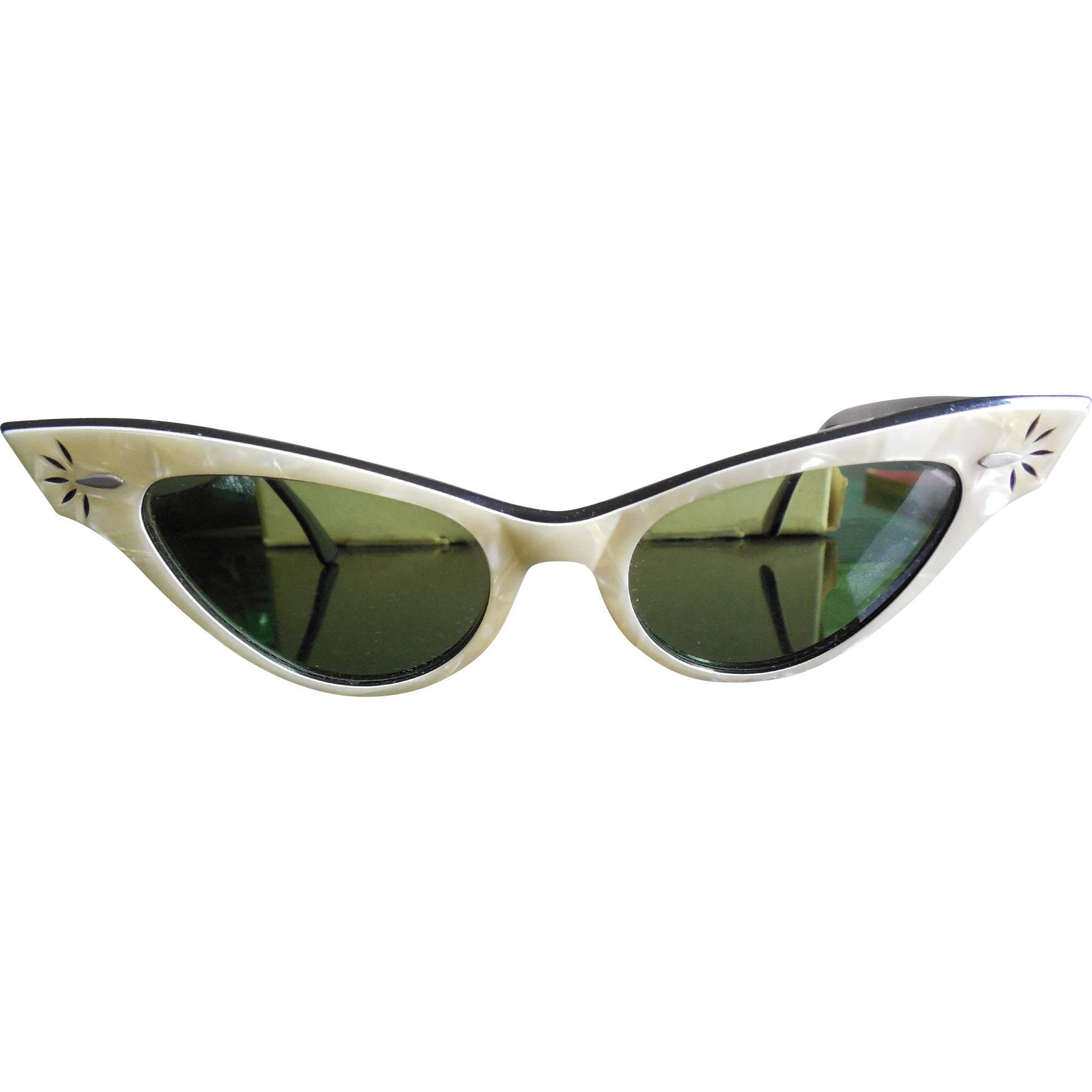 e7e2fd43e1d Vintage 1950s 1960s B L Ray Ban Cat Eye Sunglasses Pearl   Black in Leather  Case - Vintage 1960s Fashion Clothing and Accessories at Ruby Lane ...