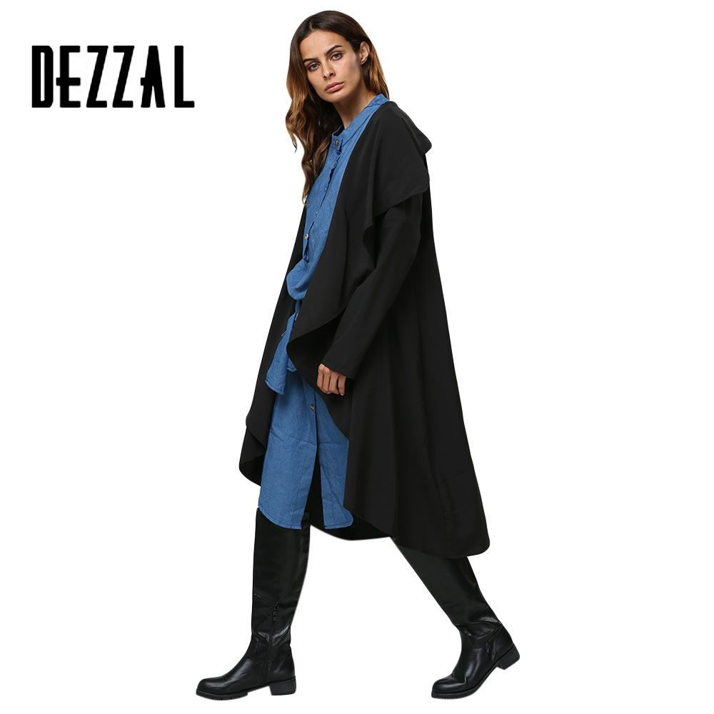 Find More Trench Information about DEZZAL Black Long Trench Coat Women Overcoat 2016 Autumn Winter Casual Elegant Loose Coats Outwear Gabardina Mujer Trench Femme,High Quality women coat,China coat for women Suppliers, Cheap womens jackets coats from AZULINA Store on Aliexpress.com