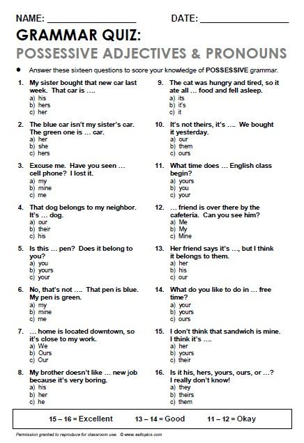 grammar quiz        Repinned by Chesapeake College Adult Ed. We offer free classes on the Eastern Shore of MD to help you earn your GED - H.S. Diploma or Learn English (ESL).  www.Chesapeake.edu
