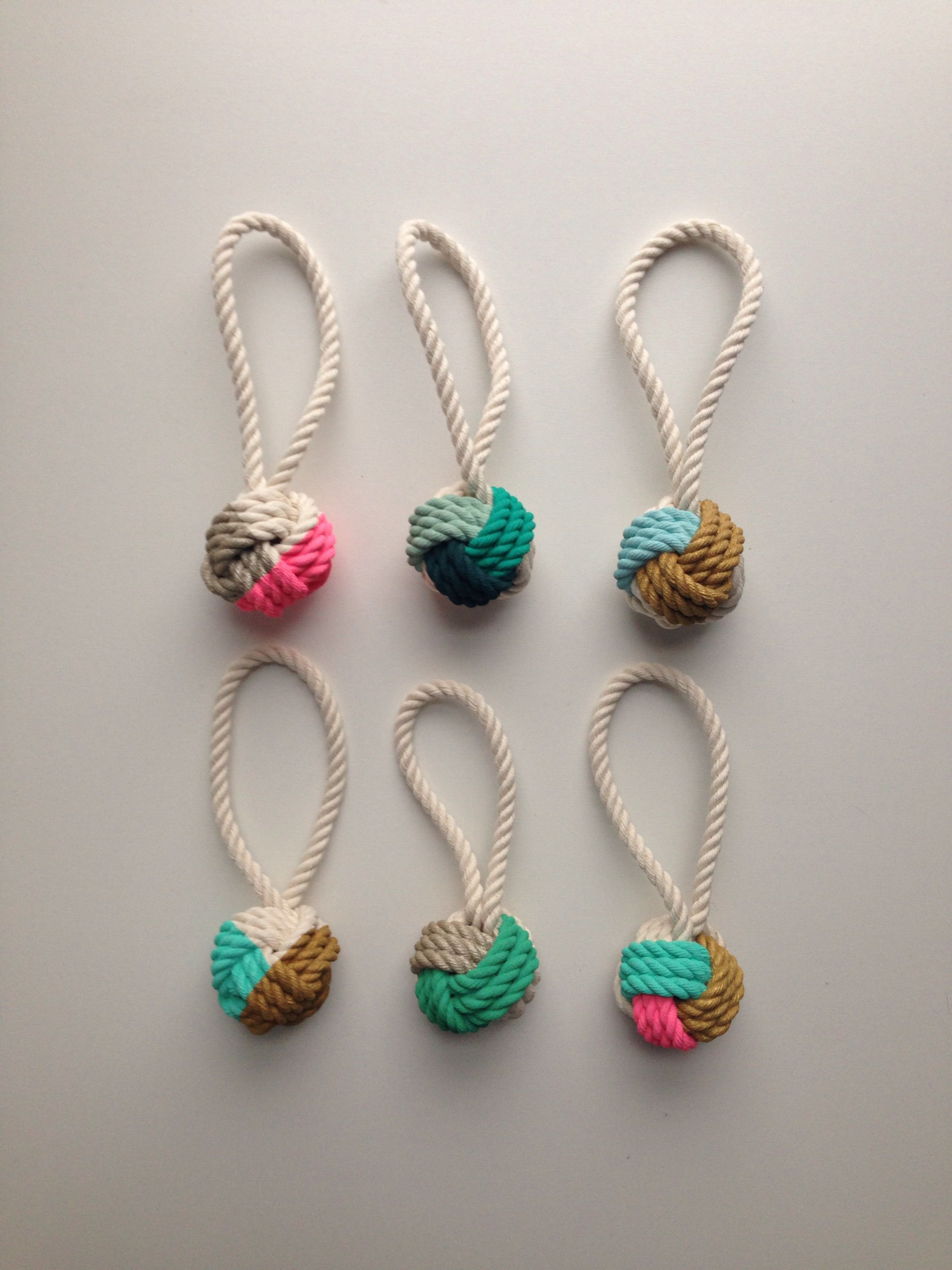 Hand-Painted Monkey's Fist Knot Ornaments - Made by Cassandra Smith