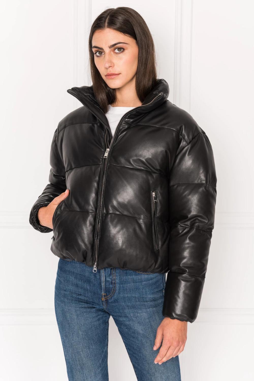 IRIS Black Leather Puffer Jacket Puffer jackets, Black