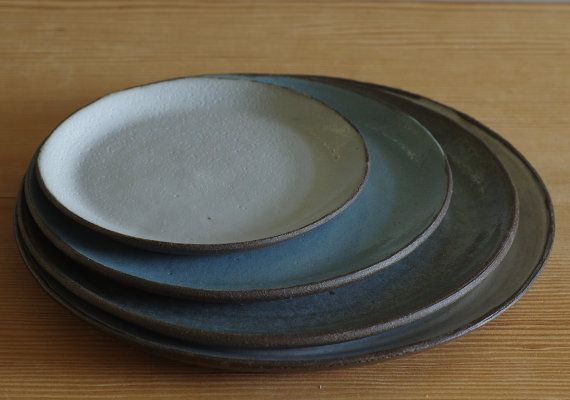 brown pottery plate set. brown stoneware entree plate, modern dish. Blue and grey glazes. dinnerware plate. modern ceramics READY MADE