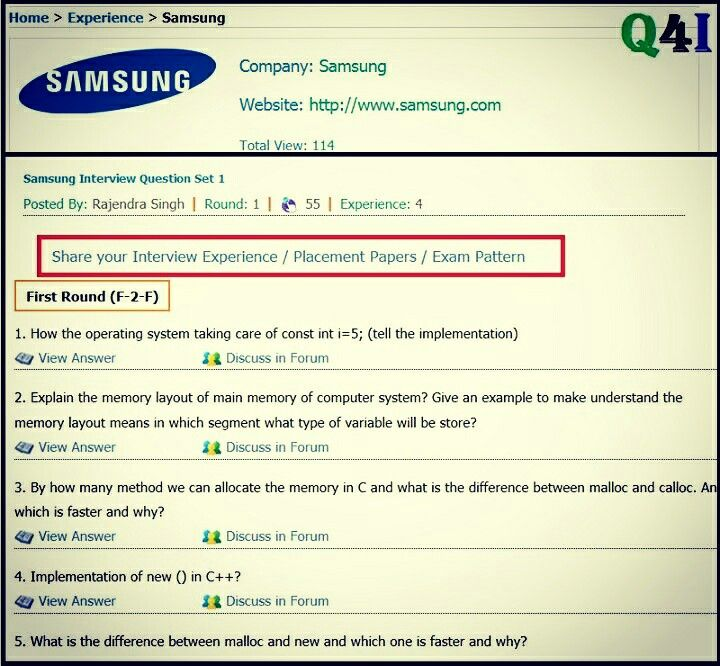 Samsung interview questions and answers Experience Interview