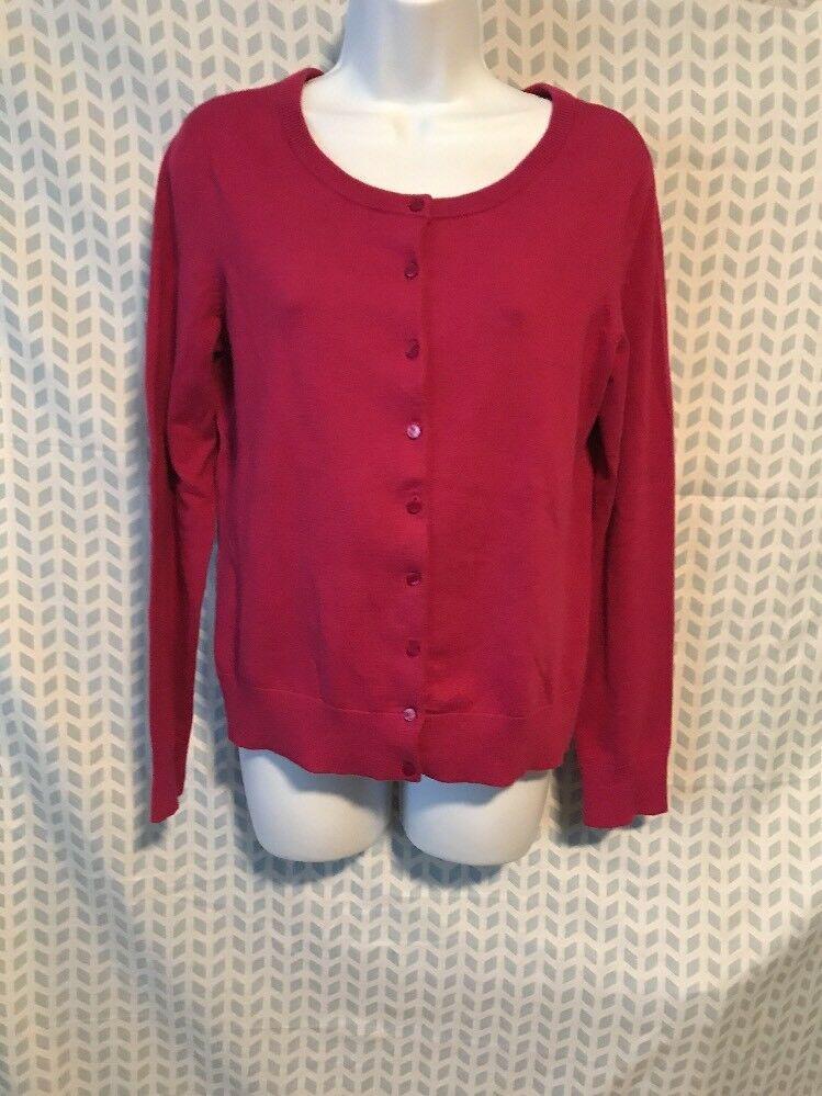 Talbots Medium Petite Dark Pink Pima Cotton Cardigan Sweater Long Sleeves  146  2354b8253