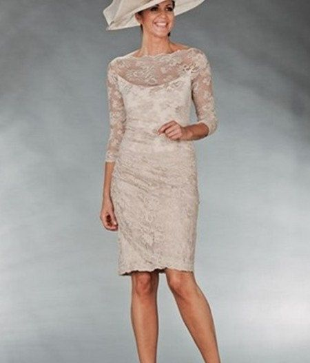 Champagne Mother Of The Bride Dresses Lace Half By Mallecndress 139 00 Vestidos Vestido De Casamento Vestido Pra Festa