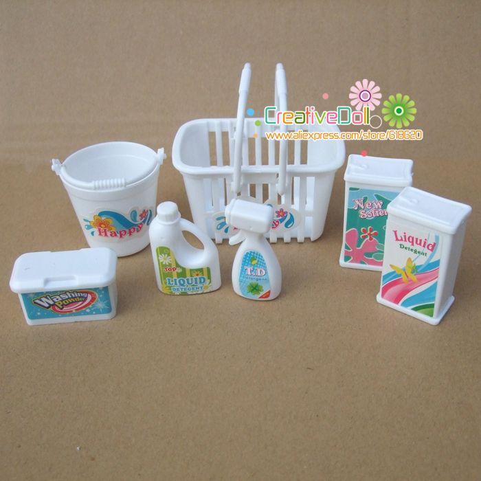Envío gratis Kid de juego juguetes casa swag caja, cubos, detergentes, lavadora doméstica Kit para Barbie Doll