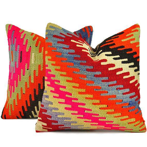 Set of 2 Kilim Pillow Cover kilim Pillow 16x16 kilim pillow