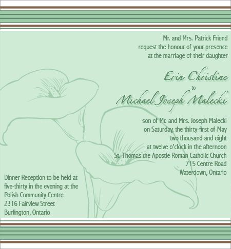 calla lilly wedding invitation in green and brown chantal claire collections wwwchantalclaire