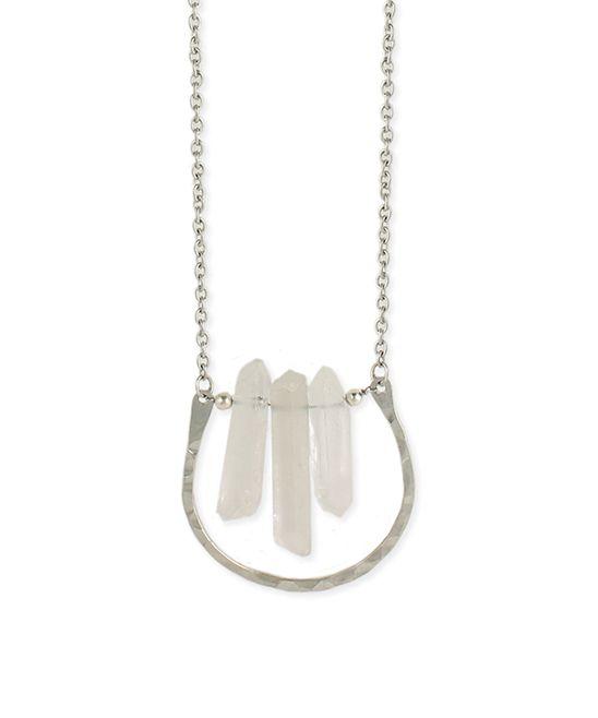 Quartz & Silvertone Hammered Horseshoe Pendant Necklace