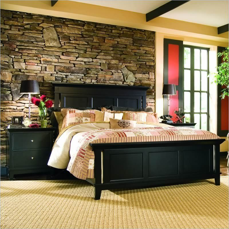 Perfect This Eclectic Bedroom Incorporates Both Old And New Elements. The Rock Wall  Behind The Bed Is The Focal Point, But The Traditional Bedside Lamps And  Country ...