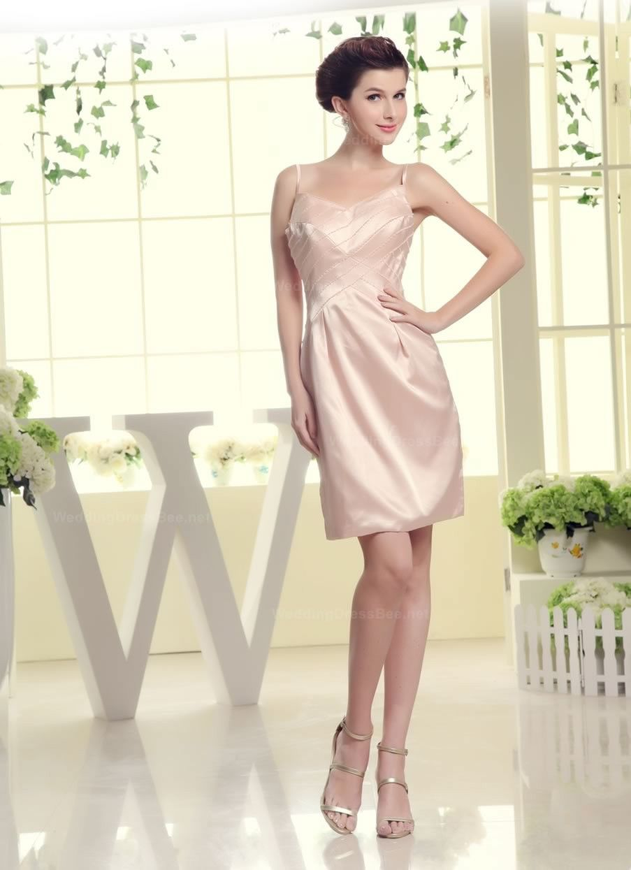 Stylish beaded top satin dress with spaghetti straps $134.98