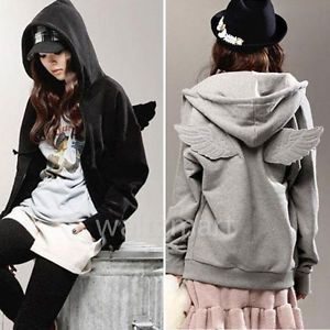 Cute Women Girls Angel Wings Hoodie Jacket Sweatshirt Hooded Coat ...