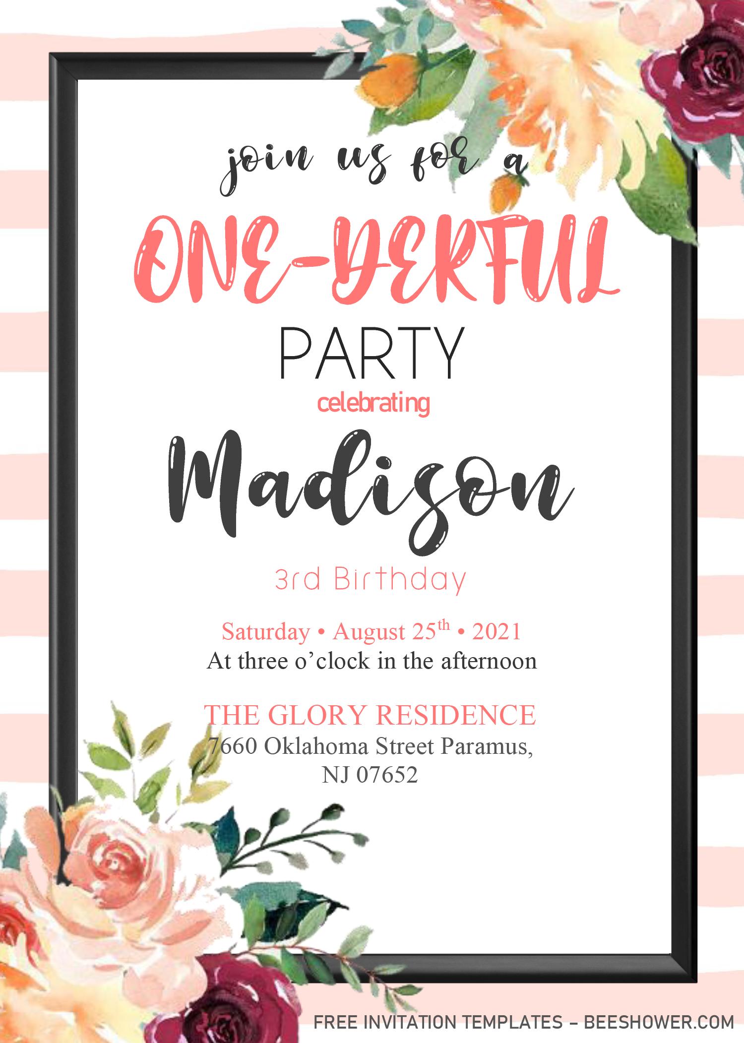 Blush Pink 1st Birthday Invitation Templates Editable W