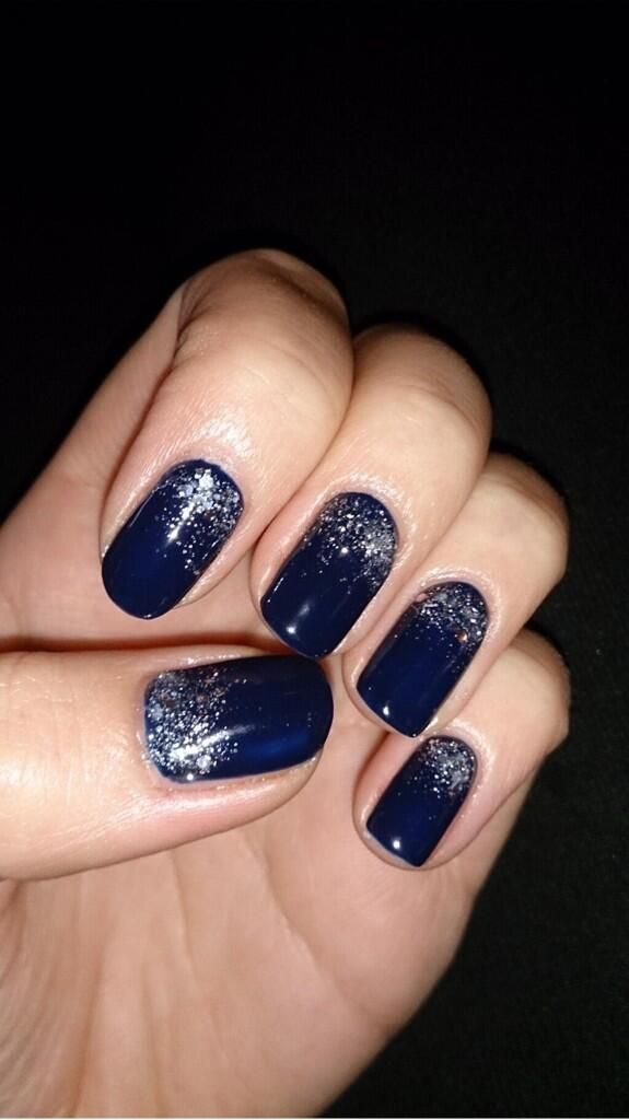 Adorable Blue Nail With Silver Sparkles Nails Navy Nails Nails Blue Nails
