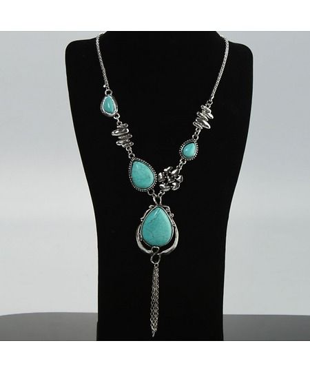 Water Droplets Turquoise Necklace, Earrings and Oval Bracelet Set