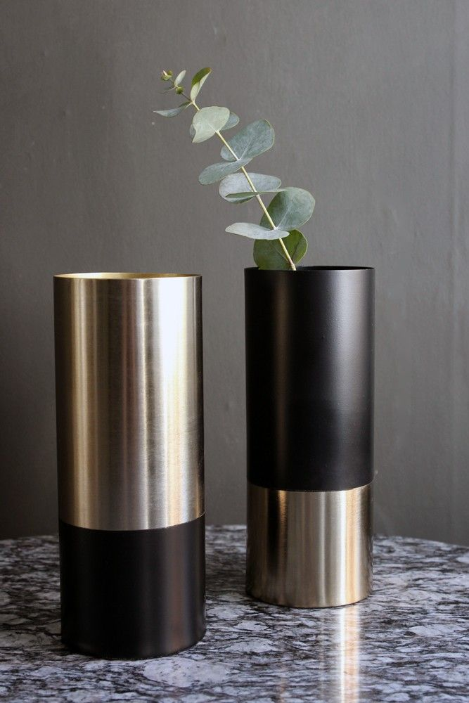 Black & Gold Pipe Vase - View All - Home Accessories