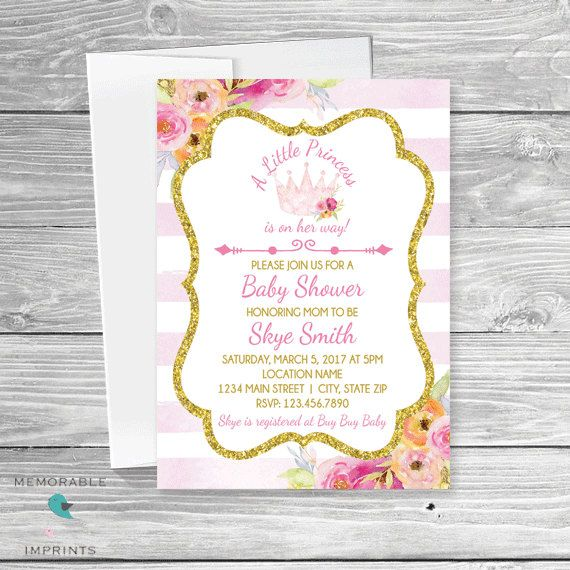 princess baby shower invitation pink and gold princess baby shower crown princess girl baby