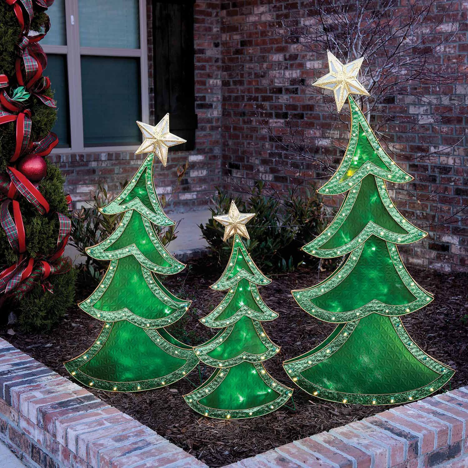 led decorative christmas trees set of 3 36 48 and 60 17998 at sams club - Sams Club Outdoor Christmas Decorations
