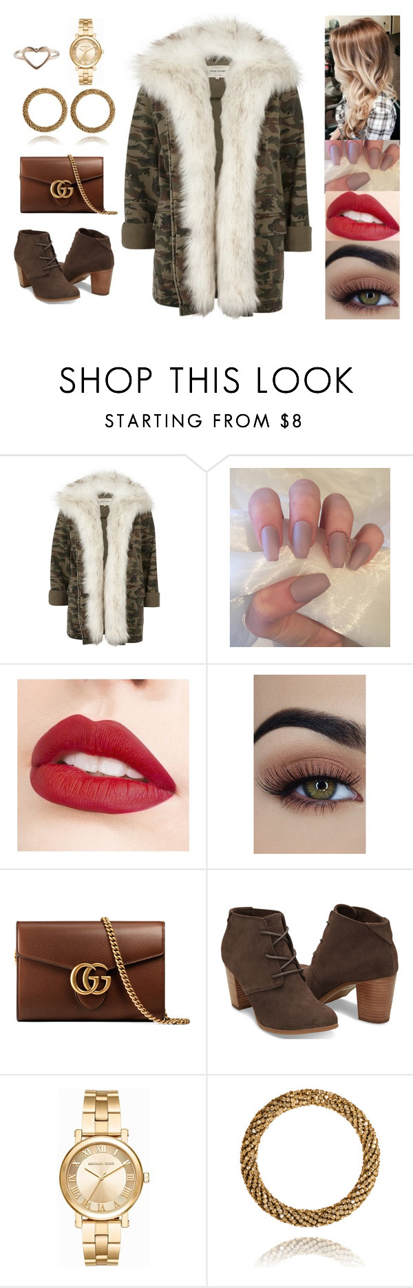 """Untitled #4849"" by sigalv ❤ liked on Polyvore featuring River Island, Jouer, Gucci and Michael Kors"