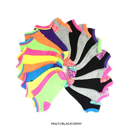 20 Pairs: Fun Neon Ankle Socks - Black & Gray or Multi at 75% Savings off Retail!
