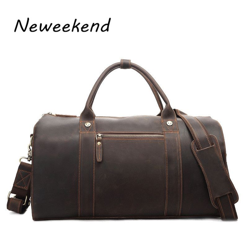4f84cb3d9583 Leather · NEWEEKEND 8642 Retro Genuine Leather Cowhide Crazy Horse Big Travel  Duffel Bag Zipper Crossbody Luggage Bag