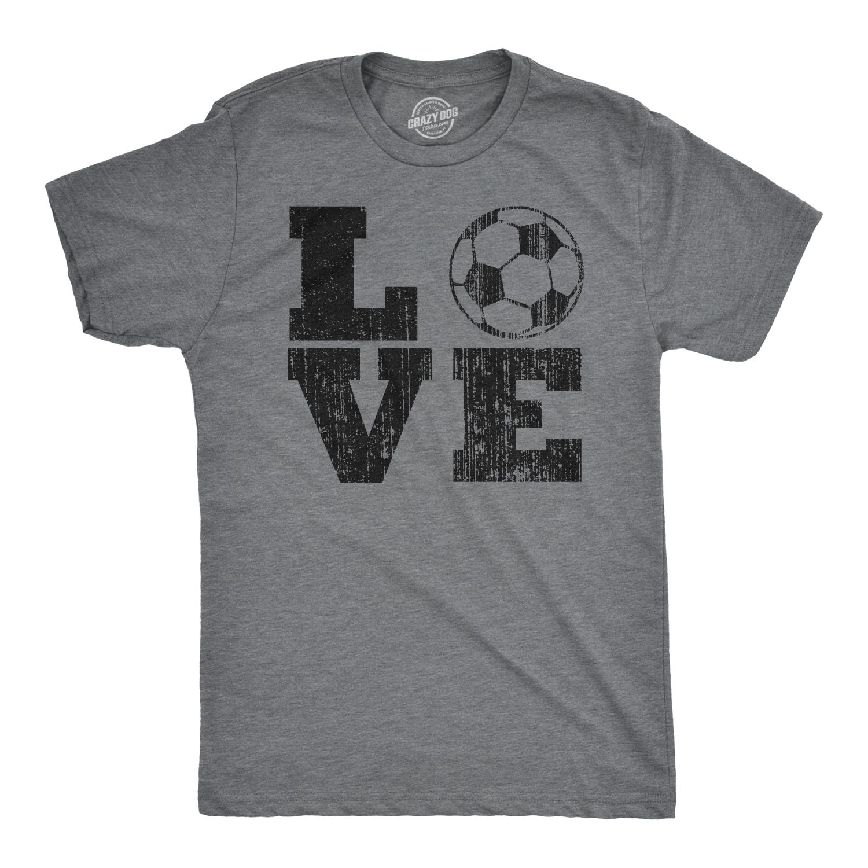 Mens Love Soccer Tshirt Cute Sports Tee For Guys In 2020 Funny Sports Shirts Soccer Tshirts Sports Shirts Ideas