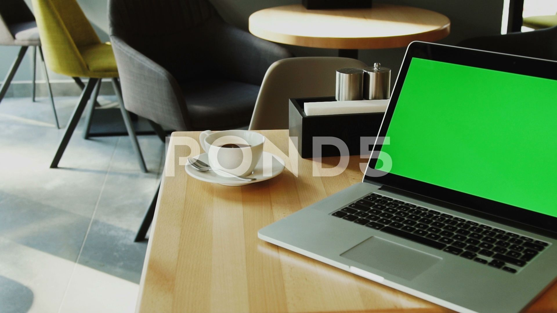 Green Mock Up Screen Of Personal Computer In Loft Interior Cafe With Camera Stock Footage Ad Personal Computer Screen Green Loft Interiors Cafe Computer