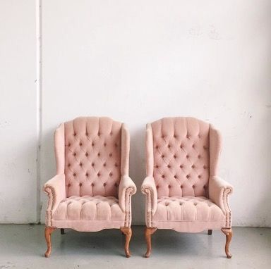 Pink tufted wingbacks | decorate | Pinterest | Interiors, Room and ...