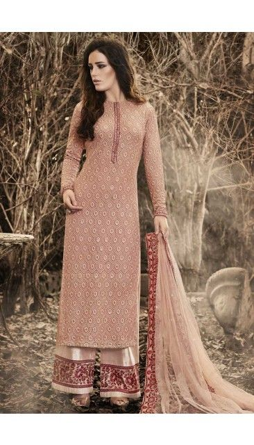 aee4ff53d0 Dusty Peach Net Trouser Suit With Embroidered Dupatta - DMV14560 ...