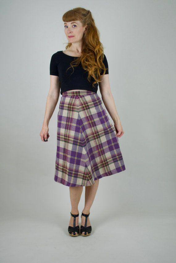702c103bb Vintage 70s tartan skirt. Midi skirt. Wool skirt. Plaid skirt. A line skirt.  Schoolgirl. Pin up. Sec