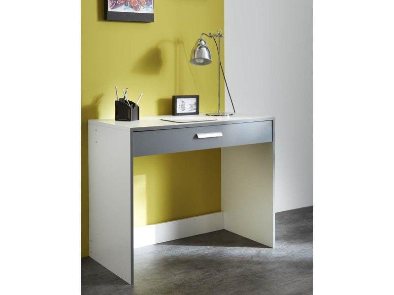 Bureau avec tiroir blanc gris graphite 95 x 50 1 x 76 7 cm pas