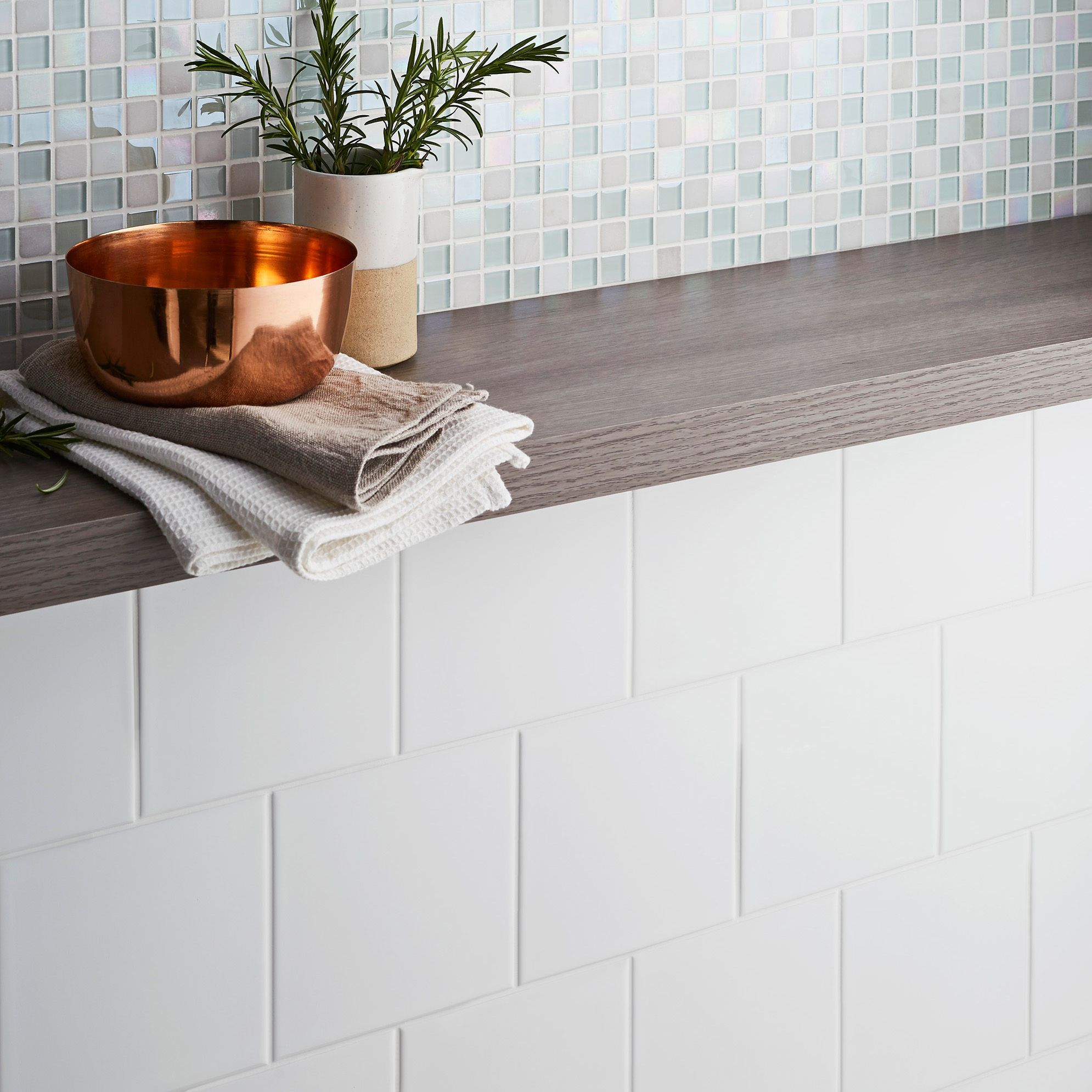 Leccia White Gloss Ceramic Wall Tile Pack Of 44 L 150mm W