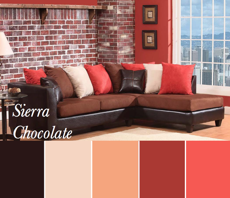 Brown, Peach, Coral, Brick, Tan Color Scheme Based On Sierra Chocolate  Sectional