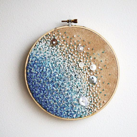 Calm Blue Sea - Gradient Embroidery Hoop Art - French Knots, Beads, and Vintage Buttons.