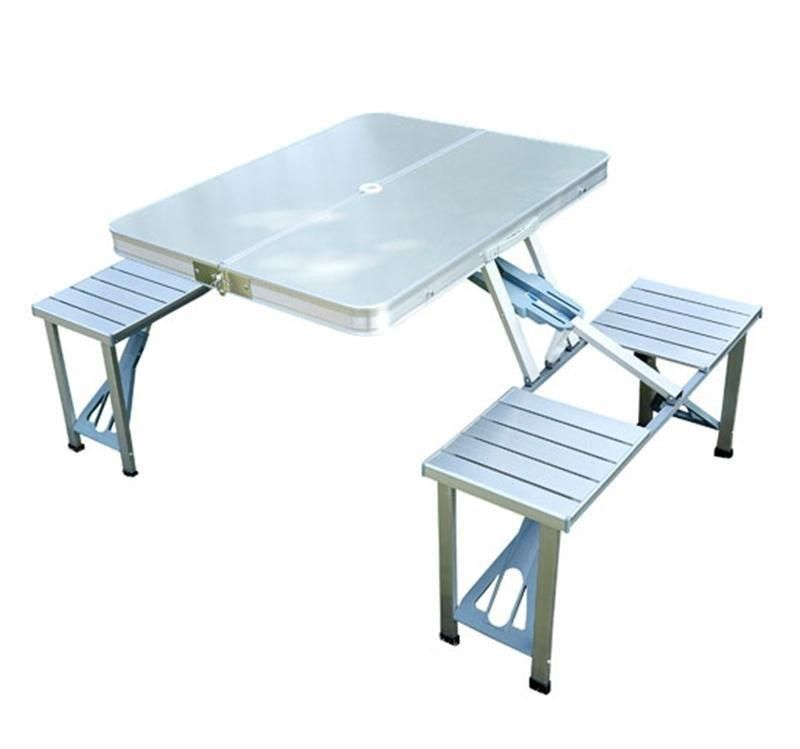 Silver Aluminium Mdf Portable Camping Picnic Folding Table 4 Chairs Outdoor New Folding Picnic Table