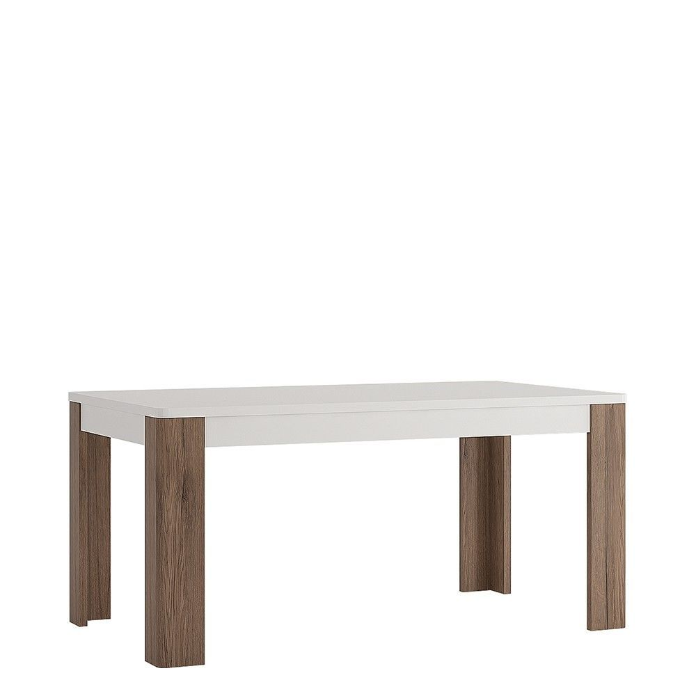 White Gloss Oak 160cm Dining Table Set With 6 White Faux Leather Chairs