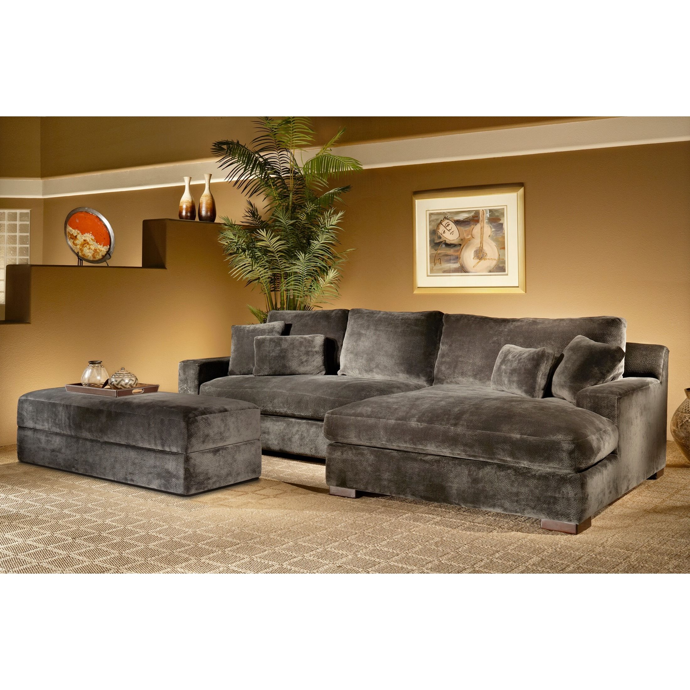 Chaise Sofa The Doris piece Smoke Sectional Sofa with Storage Ottoman is covered in a super