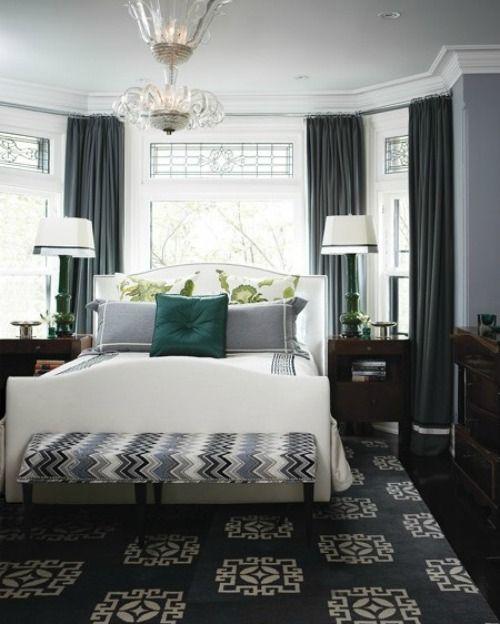 Grey Curtains Dark Grey Walls And Blue Accents Bedroom Grey