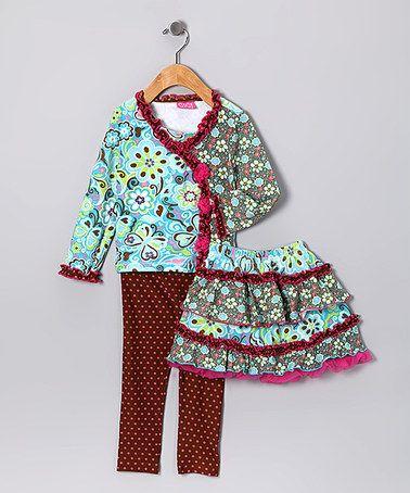 Look what I found on #zulily! Blue & Brown Top Set - Toddler & Girls #zulilyfinds