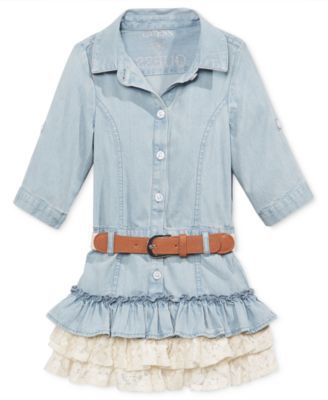 ONES Baby Kid Girls Lace Floral Denim Top Tulle Gown Casual Ruffle Dress