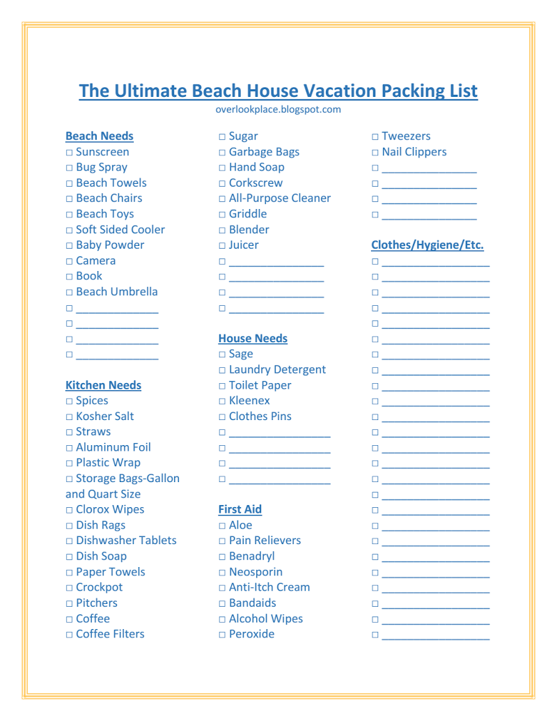 The Ultimate Beach House Vacation Packing List  Outerbanks