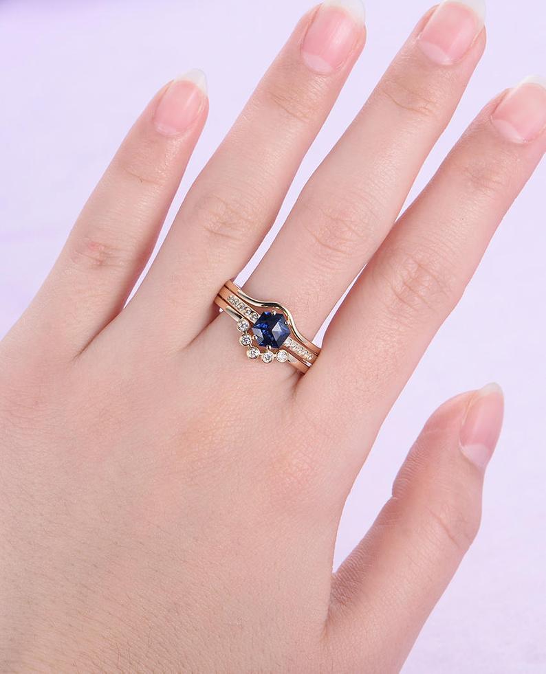 Unique engagement ring Sapphire Curved diamond wedding