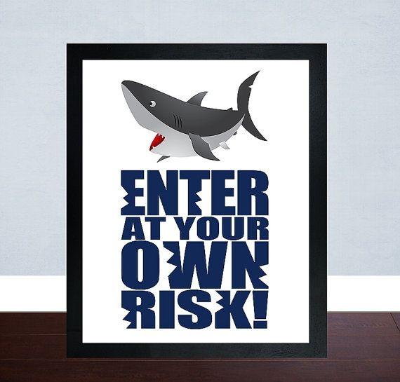 Shark Wall Art enter at your own risk wall art, shark wall print, shark wall art