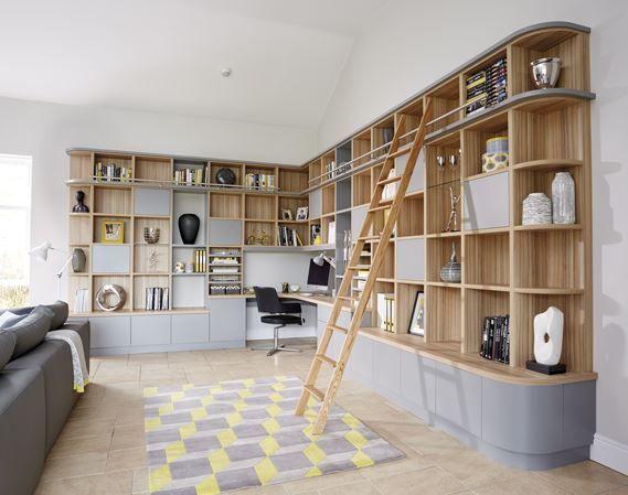Grey Modern Library Study Amenagement Salon Maison Decoration Maison